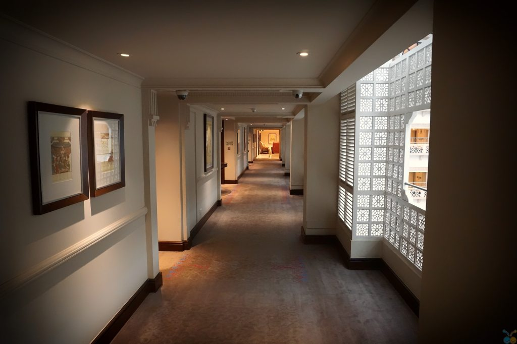 A long hallway with multiple intersecting hallways.