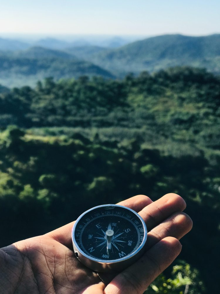Hand holding a old school compass overlooking a forest