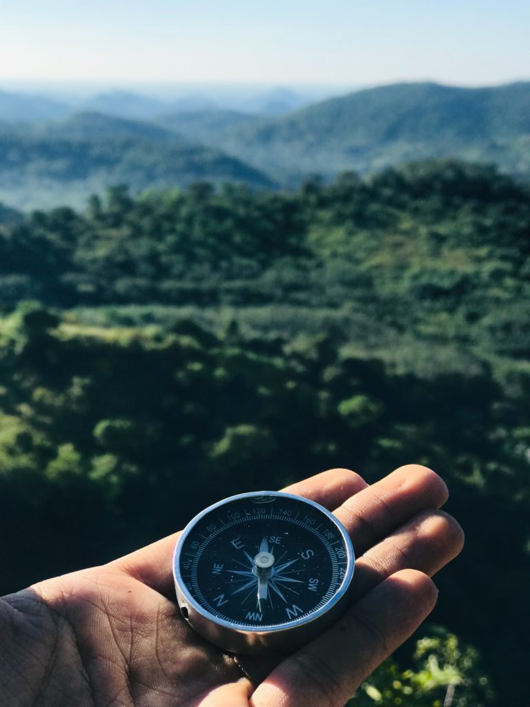 Hand holding a circular compass that is giving cardinal directions overlooking lush green forest